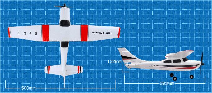 3CH 2.4GHz エアープレーン CESSNA-182 サイズ